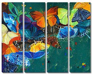 Цвет бабочек на фоне gree