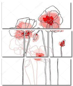 Красные маки рисунок  на белом фоне
