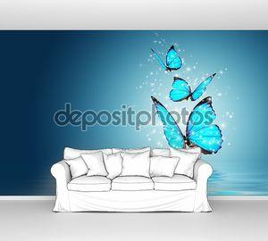 Голубые бабочки над водой