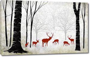 Терракотовые олени в лесу
