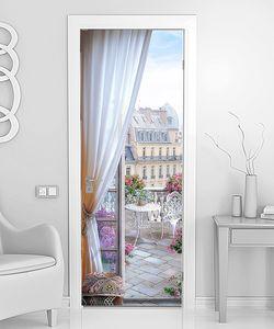 Терраса с видом на утренний Париж