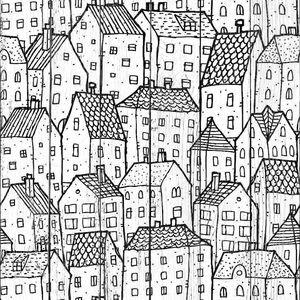 Фон города черный и белый