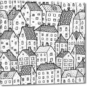 бесшовный фон города в черный и белый