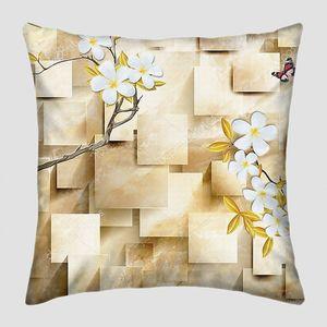 Мраморные прямоугольники, большие белые цветы на ветвях