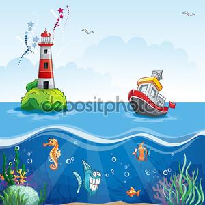 иллюстрация в мультяшном стиле судна в море и весело рыбы