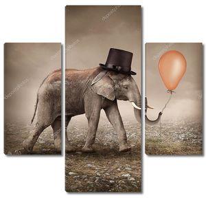 Слон с оранжевым шариком