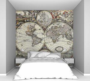 Старая карта полушарий мира