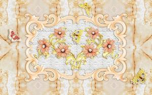 Золотая абстракция - цветы, украшение, бабочки