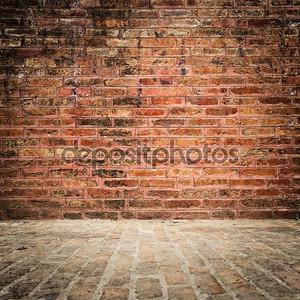Кирпичные стены и пол с виньетка