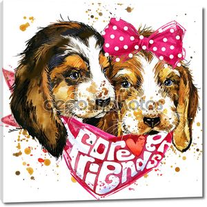 Dog companion T-shirt graphics. watercolor dog illustration. Forever friends handwritten text. unusual illustration  puppy dog for fashion print, poster, textiles, fashion design