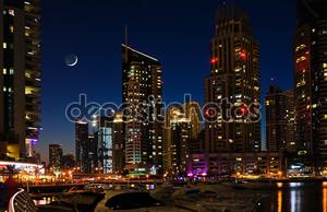Dubai Marina at night. United Arab Emirates
