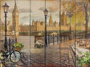 Вид с набережной на туманный Лондон