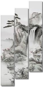Сосна на утесе с водопадом
