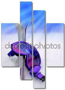 Лыжи и лыжные очки