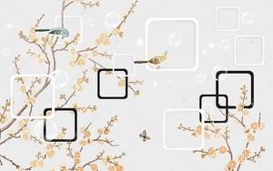 Ветви с бежевыми цветами и рамки