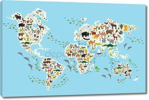 карта мира Мультфильм животных для детей и детей, животных со всего мира, белые материки и острова на синем фоне океана и моря. Вектор