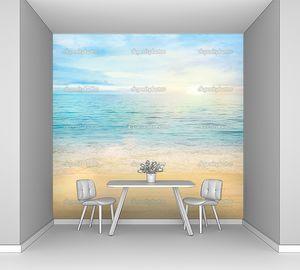 Золотой песок на берегу голубой океан