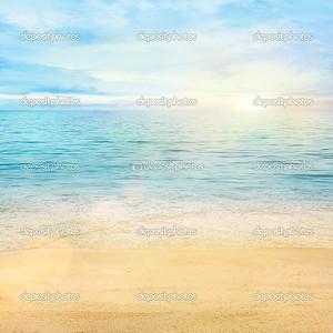 Golden sand with blue ocean