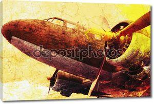 Старый военный самолет гранж