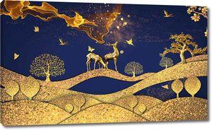 Золотая тема с оленями