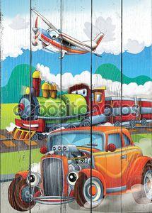 Паровоз, автомобиль и Летающая машина - иллюстрации для детей