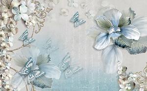 Орхидея, цветы и бабочки