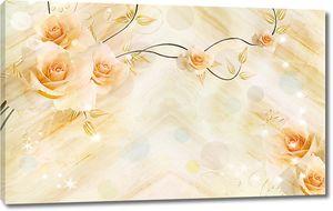 Композиция из персиковых роз