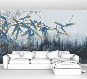 Бамбуковые побеги на синей бетонной стене