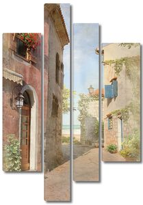 Фреска с красивыми домами