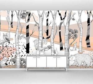 Woodland-рисованные звери в оранжевом лесу