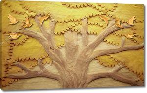Объемное желтое дерево и птицы