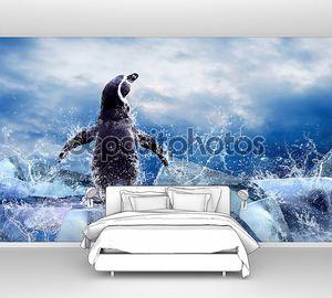 Пингвин на льду в капли воды.