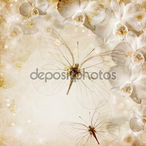Свадебный фон с орхидеей