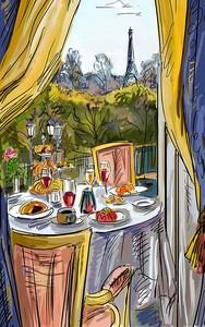 Рисунок кафе с видом на Эйфелеву башню