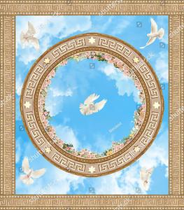 Голуби на небе с орнаментом