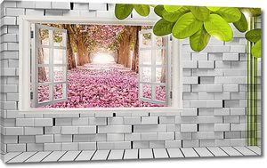 Окно в кирпичной стене с видом на аллею