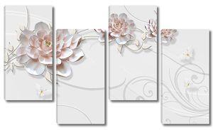 Три цветка с завитушками