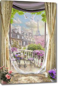 Балкон с видом на Эйфелеву башню