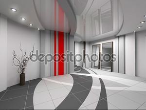 3D-рендеринга современный интерьер зала