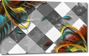 Разноцветные перья на клетчатом полу