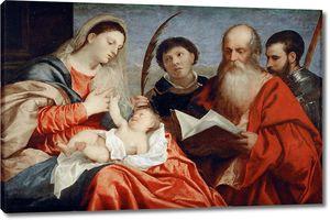 Тициан. Мадонна с младенцем, св.Стефаном, св.Иеронимом и св.Маврикием