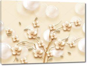 Бежевые цветы с жемчужными шарами