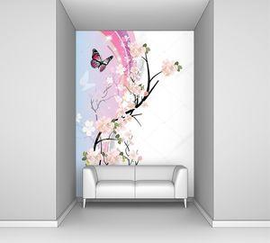 Веточка сакуры и бабочки