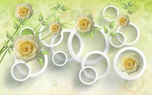 Светло-желто-зеленый фон, бутоны роз