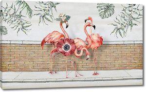 Фламинго у кирпичного забора