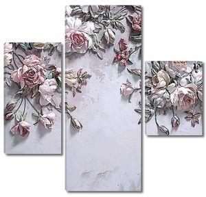 Выпуклые розы на стене