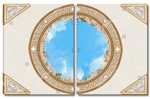 Небо в круге с розами по краям и красивым орнаментом