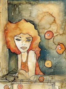 Акварельная иллюстрация портрета красивой девушки