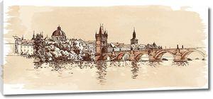 Рисунок Карлова моста в Праге