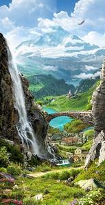Невероятный водопад в скале